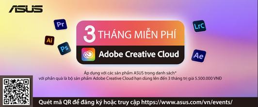 Mua sản phẩm ASUS nhận ngay 3 tháng Adobe Creative Cloud