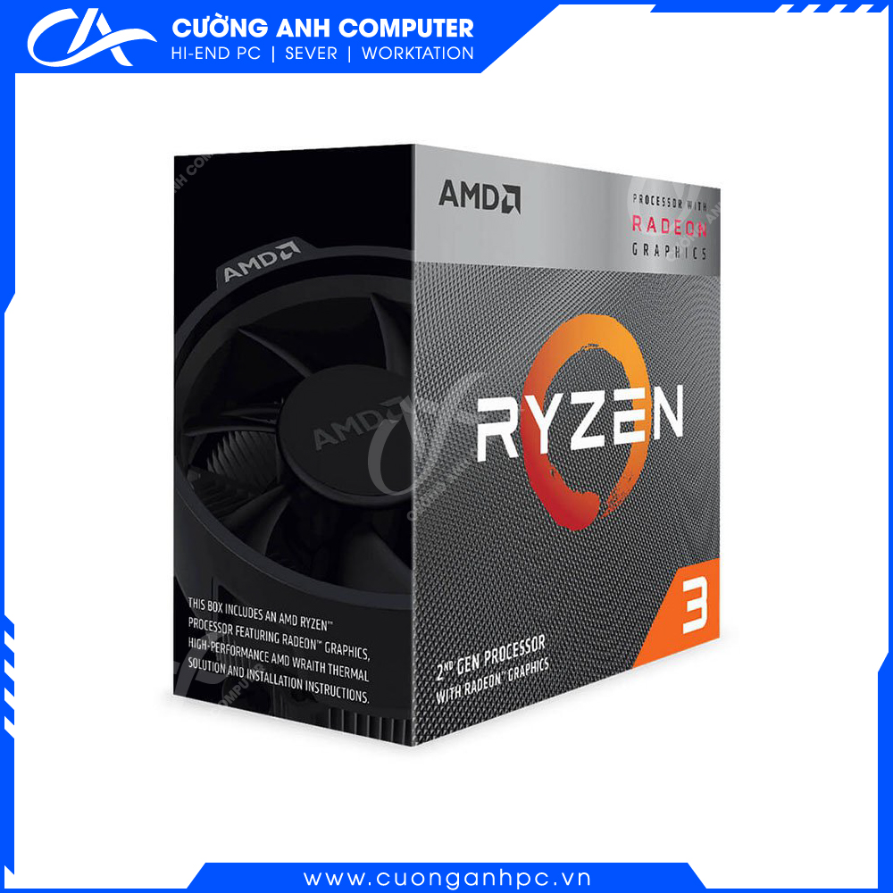 CPU AMD Ryzen 3 3200G, with Wraith Stealth cooler/ 3.6 GHz (4.0 GHz with boost) / 6MB / 4 cores 4 threads / Radeon Vega 8 /  65W / Socket AM4